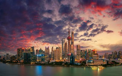 4k, Shanghai, panorama, metropolis, modern buildings, sunset, skyscrapers, China, Asia, Shanghai in evening
