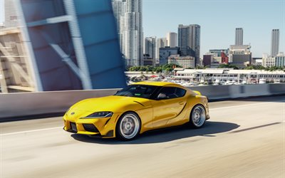 2020, Toyota GR Supra, front view, exterior, yellow sports coupe, new yellow Supra, japanese sports cars, Toyota