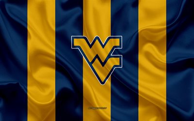 west virginia mountaineers american football team emblem, seiden-fahne, gelb-blau seide textur, ncaa west virginia bergsteiger-logo, morgantown, west virginia, usa, american football