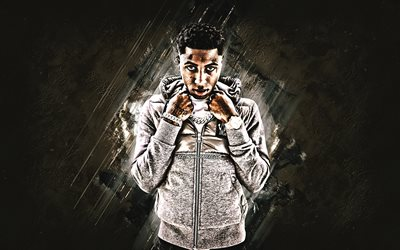 Youngboy Never Broke Again, Kentrell DeSean Gaulden, american rapper, portrait, gray stone background, creative art