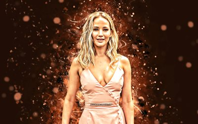 Jennifer Lawrence, 4k, brown neon lights, Hollywood, american celebrity, movie stars, Jennifer Shrader Lawrence, beauty, fan art, american actress, superstars, Jennifer Lawrence 4K