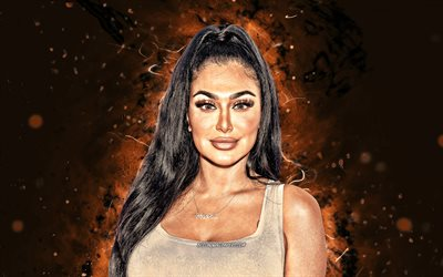 Huda Kattan, 4k, brown neon lights, american celebrity, internet celebrity, Huda Beauty, creative, Huda Kattan 4K