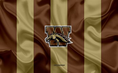 western michigan broncos, american-football-team, emblem, seidene fahne, braun-gold, seide textur, ncaa western michigan broncos-logo, kalamazoo, michigan, usa, american football