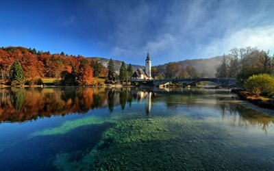 Bohinj Lake, Glacial lake, Bohinj, church, evening, sunset, autumn, mountain landscape, Slovenia