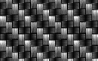 metal wickerwork textures, 4k, vector textures, metal weaving textures, metal textures, gray metal background, carbon textures, metal, gray wickerwork background