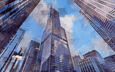 Willis Tower, Sears Tower, Chicago, Illinois, USA, grunge art, creative art, painted Willis Tower, drawing, Willis Tower grunge, digital art, Chicago grunge, painted Chicago