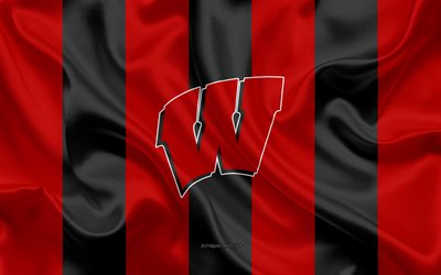 Wisconsin Badgers, squadra di football Americano, emblema, seta, bandiera, rosso-nero, in seta, texture, NCAA, Wisconsin Badgers logo, Madison, Wisconsin, stati UNITI, football Americano