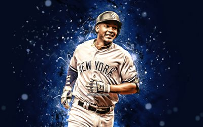 4k, Miguel Andujar, 2020, MLB New York Yankees di baseball, Major League di Baseball, baseman, Papa, Miguel Enrique Andujar, luci al neon, Miguel Andujar New York Yankees, Miguel Andujar 4K, NY Yankees
