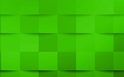 Green 3d squares texture, Green creative texture, Green 3d abstraction, Green 3d background, Green mosaic texture