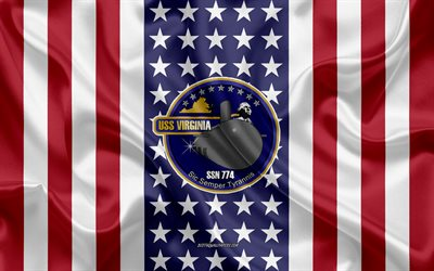 USS Virginia Emblem, SSN-774, American Flag, US Navy, USA, USS Virginia Badge, US warship, Emblem of the USS Virginia