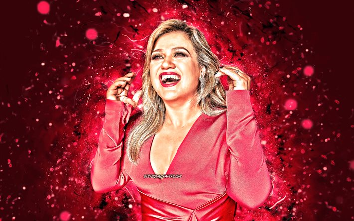 kelly clarkson, 4k, lila, neon lights, hollywood, american star, stars, kelly brianne clarkson, schönheit, fan-kunst, us-amerikanische schauspielerin, superstars, kelly clarkson 4k