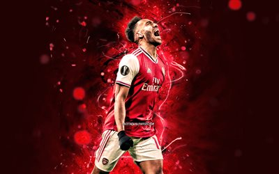 Pierre-Emerick Aubameyang, 2020, Arsenal FC, gabonese footballers, red neon lights, Pierre-Emerick Emiliano Francois Aubameyang, soccer, goal, Premier League, football, The Gunners
