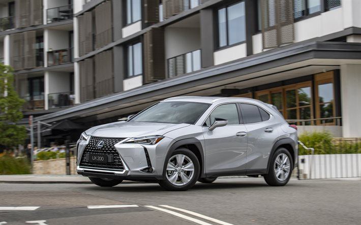 2020, Lexus UX, front view, exterior, silver crossover, new silver UX, japanese cars, UX 200 F SPORT, Lexus