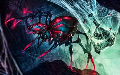 Spider Queen Elise, battle, MOBA, warriors, League of Legends, 2020 games, Legends of Runeterra, artwork, Elise League of Legends