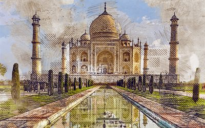 Taj Mahal, Agra, Uttar Pradesh, India, grunge art, creative art, painted Taj Mahal, drawing, Taj Mahal grunge, digital art