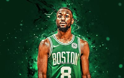 Kemba Walker, 2020, Boston Celtics, 4k, NBA, koripallo, vihreä neon valot, USA, Kemba Walker Hudley, Kemba Walker Boston Celtics, luova, Kemba Walker 4K