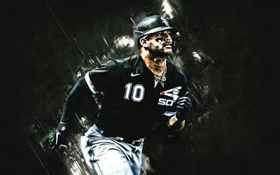 Yoan Moncada, Chicago White Sox, MLB, kuubalainen baseball-pelaaja, muotokuva, musta kivi tausta, baseball, Major League Baseball, USA