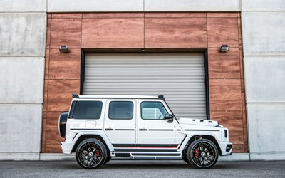 Mercedes-Benz G63, 2020, side view, exterior, white SUV, tuning G63, Mercedes G-class, W463, Lumma Design, CLR G770, Gelandewagen, Mercedes