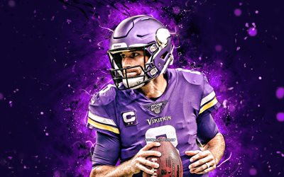 Kirk Cousins, 2020, 4k, quarterback, Minnesota Vikings, american football, NFL, Kirk Daniel Cousins, National Football League, neon lights, Kirk Cousins Minnesota Vikings, Kirk Cousins 4K