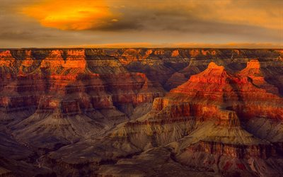 Grand Canyon National Park, evening, rocks, sunset, red rocks, mountain landscape, Colorado River, Arizona, USA, Grand Canyon, panorama