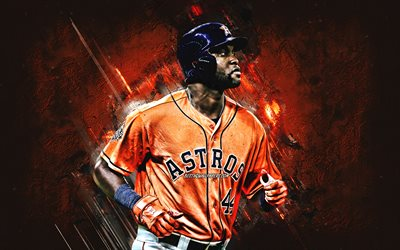 Yordan Alvarez, Houston Astros, MLB, kubanska skådespelare, porträtt, orange sten bakgrund, baseball, Major League Baseball, USA