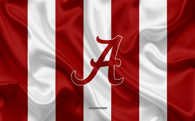alabama crimson tide american football team emblem, seidene fahne, rote und weiße seide textur, ncaa alabama crimson tide logo, tuscaloosa, alabama, usa, american football