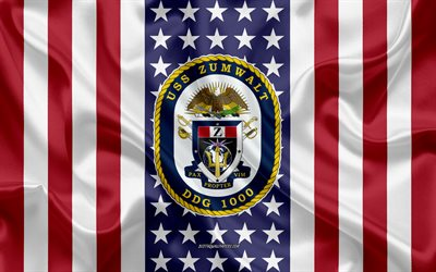 USS Zumwalt Emblem, DDG-1000, American Flag, US Navy, USA, USS Zumwalt Badge, US warship, Emblem of the USS Zumwalt