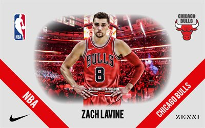 Zach LaVine, Chicago Bulls, Amerikansk Basketspelare, NBA, porträtt, USA, basket, United Center, Chicago Bulls logotyp, Zachary LaVine