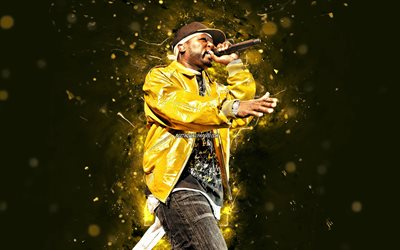 50 Cent, 2020, 4k, american rapper, music stars, yellow neon lights, Curtis Jackson, 50 Cent with microphone, american celebrity, fan art, creative, 50 Cent 4K