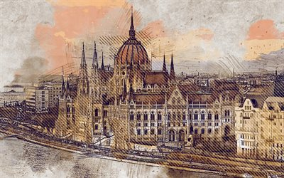 Hungarian Parliament Building, Budapest, Danube River, Hungary, grunge art, creative art, painted Hungarian Parliament Building, drawing, Budapest grunge, digital art, painted Budapest, Budapest grunge cityscape