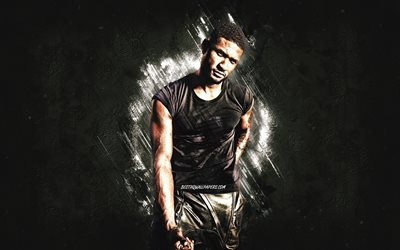 Usher, american singer, portrait, gray stone background, Usher Raymond IV