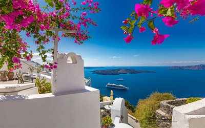 Oia, Santorini, Thira, Aegean Sea, cruise ship, white houses, romantic island, greek resort, islands, Greece