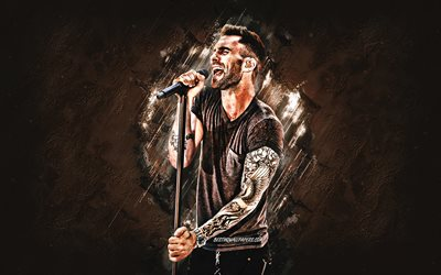 Adam Levine, american singer, Maroon 5, brown stone background, portrait, creative art, american stars