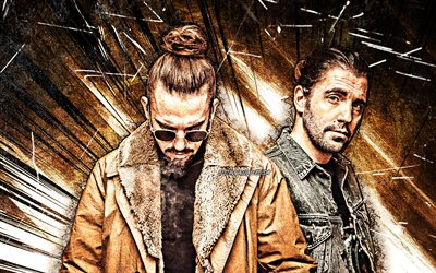 4k, Dimitri Vegas and Like Mike, grunge art, DJs, music stars, brown abstract rays, DJ duet, superstars, Dimitri Thivaios, Michael Thivaios, creative, Dimitri Vegas Like Mike