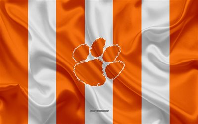 Clemson Tigers, American football team, emblem, silk flag, orange-white silk texture, NCAA, Clemson Tigers logo, Clemson, South Carolina, USA, American football, Clemson University