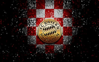 Bayern Munich FC, glitter logo, Bundesliga, red white checkered background, soccer, Bayern Munchen, german football club, Bayern Munich logo, mosaic art, football, Germany, FC Bayern