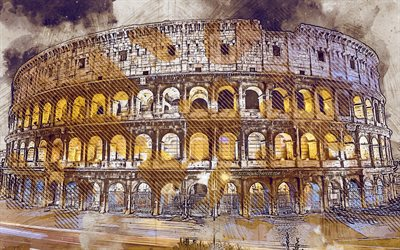 Colosseum, Rome, Italy, grunge art, creative art, painted Colosseum, drawing, Colosseum grunge, digital art, Rome grunge, landmark, painted Rome