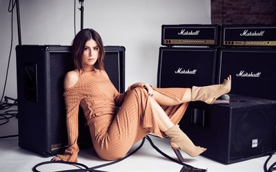 Lena Meyer-Landrut, German singer, beige suit, loudspeakers Marshall, beautiful woman