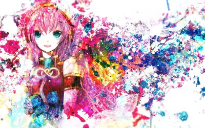 Megurine Luka, art, paint splash, manga, Vocaloid