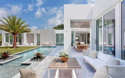 Beautiful backyard design, white exterior, swimming pool, modern design