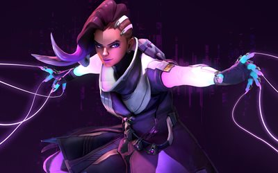 Sombra, 4k, cyber warrior, art, Overwatch