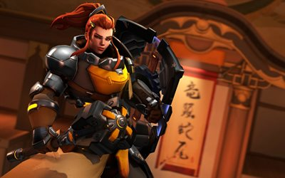 4k, Brigitte, fan art, cyber warrior, Overwatch