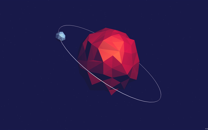 Mars, red planet, polygon style, art, red abstraction, space, vector design, Solar system