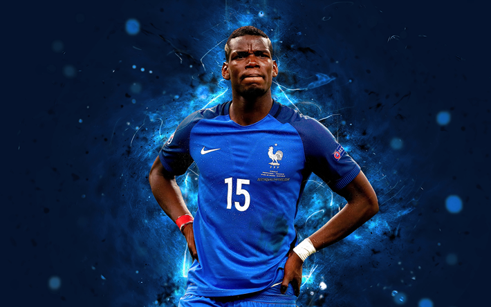 Download Wallpapers Paul Pogba, 4k, Abstract Art, France