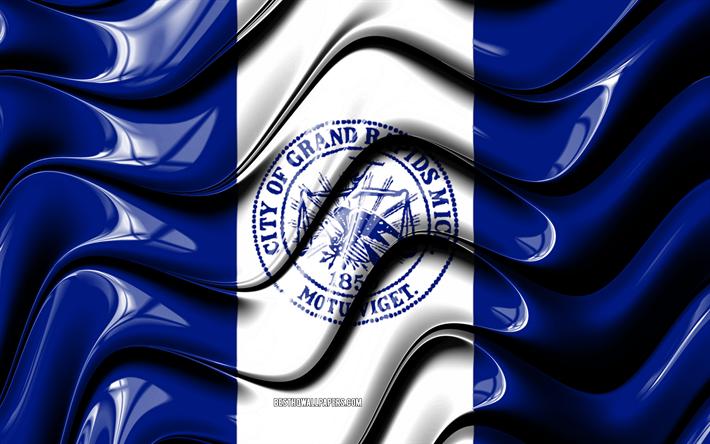 Grand Rapids flag, 4k, United States cities, Michigan, 3D art, Flag