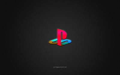 playstation-logo, ps, glänzende logo, playstation-metall-emblem, wallpaper für die playstation, grau carbon-faser-textur, playstation, marken, kreative kunst