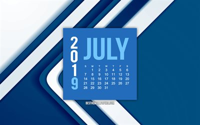 July 2019 calendar, creative blue pattern, blue abstract lines background, 2019 calendars, July, 2019 concepts, blue 2019 July calendar