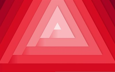 red triangles, 4k, material design, geometric shapes, lollipop, triangles, creative, strips, geometry, red backgrounds