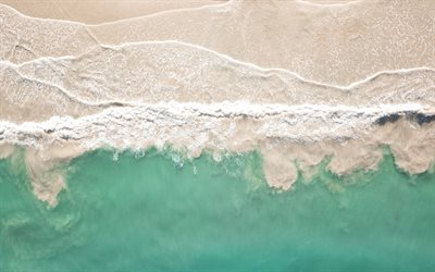 coast, view from above, beach, sand and water, waves, ocean, beautiful beach, waves from above