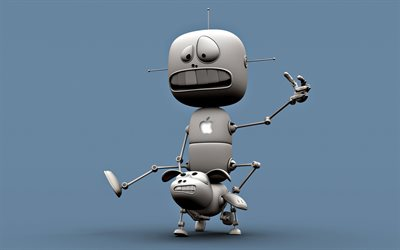 Robot with dog, 3D art, creative, cartoon robot, funny art, robot, cartoon dog